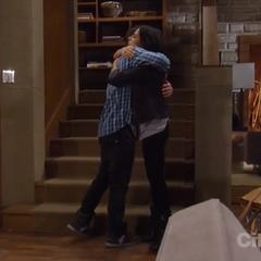 Rafe and Sam hug