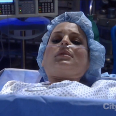 Maxie during her C-section