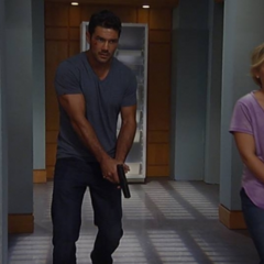 Nathan and Maxie search with guns in hand