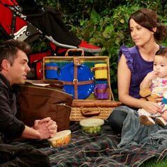 Robin, Patrick, and Emma on a park picnic (2010)