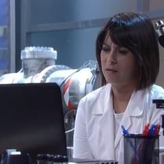 Robin in the lab at Crichton-Clark