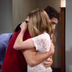 Josslyn hugs Morgan during their visit