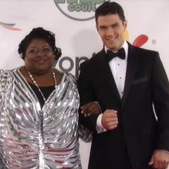 Nathan and Epiphany on the red carpet