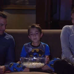 Spencer watches a movie with his dad and Britt