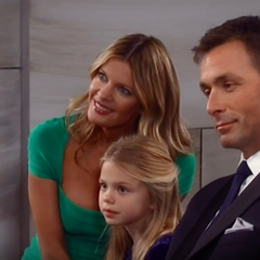 Charlotte with her dad and Nina at Nathan and Maxie's wedding