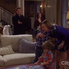 Cameron hugs his grandma Laura