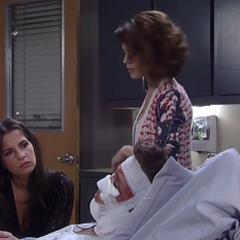 Sam sits at Jason's bedside (2014)