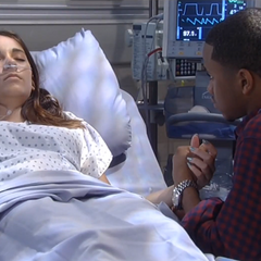 TJ sits with an unconscious Molly in the hospital (2014)