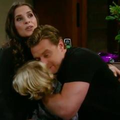 Morgan family hug