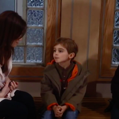 Aiden and Cameron talk to their mom at the hospital