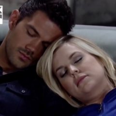 Nathan and Maxie asleep on the couch