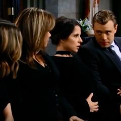 Jason and Sam at Morgan's funeral (Sam has pains)