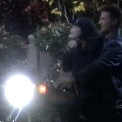 Elizabeth drives Jason's motorcycle