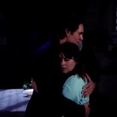 Patrick and Robin hug