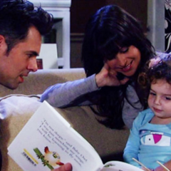Patrick and Robin read to Emma