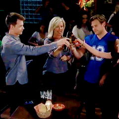 Jason and Sam celebrate with Carly and Michael