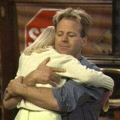 Serena hugs her father