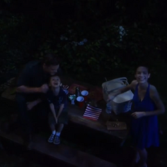 Aiden, Elizabeth and Jason (aka Jake) watch the fireworks