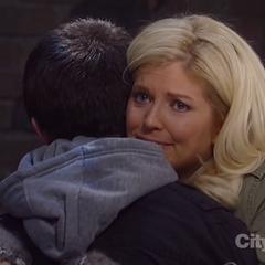 Rafe hugs his mom goodbye.