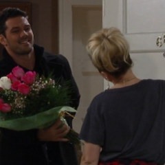 Nathan brings Maxie flowers for Valentines Day