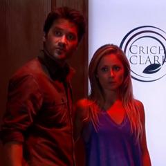 Dante and Lulu near the Crichton-Clark sign