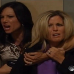 A pregnant Carly is held hostage by Claudia