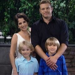Jason with wife Sam and sons, Jake and Danny