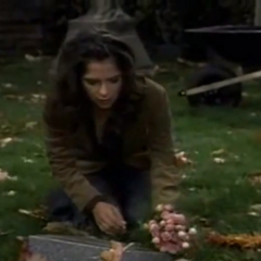 Sam visits Lila's gravesite on what would have been her second birthday (November 2006)