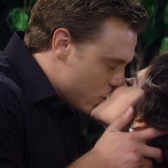 Jason and Sam's wedding kiss photo