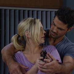 Nathan teaches Maxie how to handle a gun