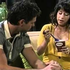 Preggo Robin and Patrick eating ice cream