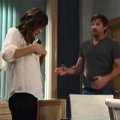 Nina puts Franco's phone down her shirt