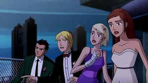Annie and Claire are shocked, Noah is shocked,and Rex has oh your here look.
