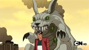 Rex has a bunny behind him