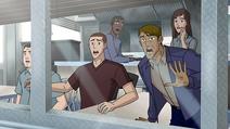 Surprised civilians watch Rex
