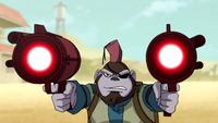 Bobo using his guns