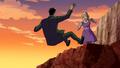 Annie knocks Rex off a cliff.png