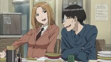 Genshiken-saki-madarame-dinner