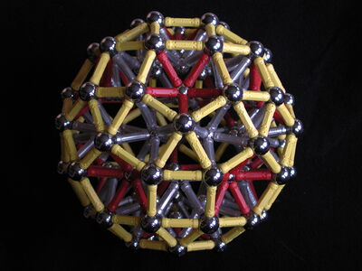 Geomag rhombicosidodecahedron with chunky vertices