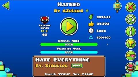 Hatred by AZuLer4 & SrGuillester (Extreme Demon) (Live)