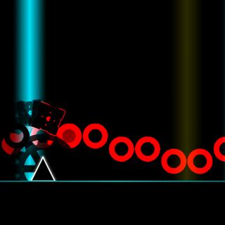 La segunda parte de el nivel con láseres al fondo y picos con colores.