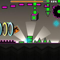 Jugador pasando por la zona arcade del nivel Determined Jumper