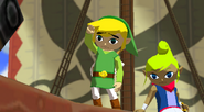 The Wind Waker Link waves goodbye