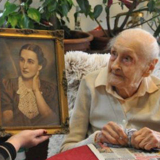 Veronika Zsilinszki in her youth and at age 110.