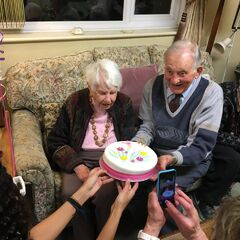 Joan Hocquard (left) on her 109th birthday.