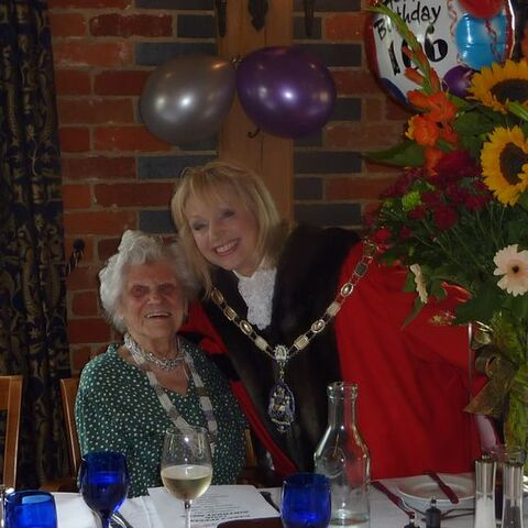 Ethel Caterham on her 106th birthday with the Mayor of Surrey Heath, Councillor Joanne Potter.