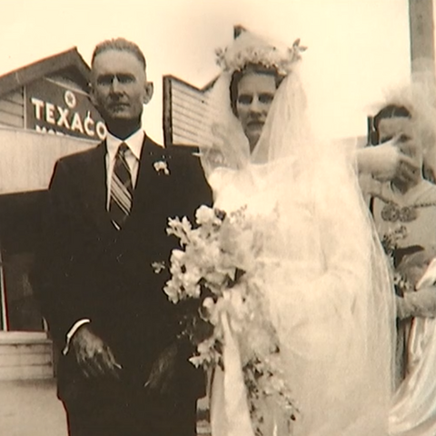 Kruger with his wife Gladys on their wedding day