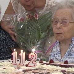 Marie-Louise Taterode celebrating her 112th birthday.