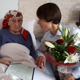 Antonina Partyka at age 110, with Waclaw Jan Kroczek