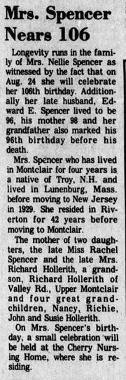 Nellie Spencer 1869-1982 106th